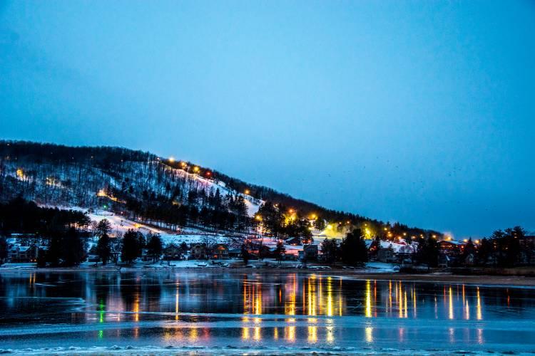 Winter Night View of Wisp Resort and Deep Creek Lake